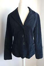 Boden Smart Black Velvet Velour Button Up Smart Casual Jacket Coat Size 16