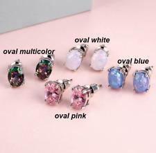 925 Silver Fire Opal Women Fashion Jewelry Gemstone Silver Stud Earrings