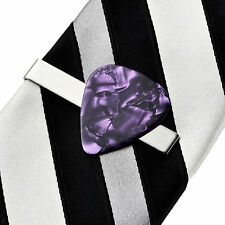 Purple Guitar Pick Tie Clip - Tie Clasp - Business Gift - Handmade - Gift Box