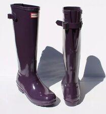 HUNTER ORIGINAL Purple Tall Adjustable Back Women Rain Boots   6 US / 37 EU