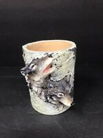 Vintage Slifka Resin Wolf Mug Small Planter Bark Tree Decoration Collectible GUC