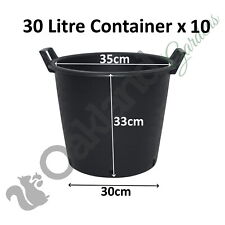 10 x 30 Litre Plant Tree Pot With Handles Heavy Duty 30L Lt Big Large Plastic