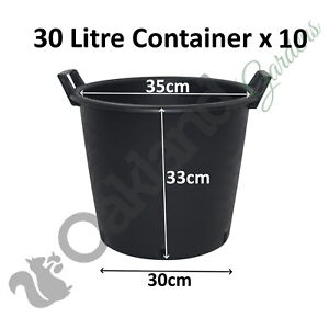 10 x 30 Litre Plant Tree Pot With Handles Heavy Duty 30L Lt Big Large Plastic /