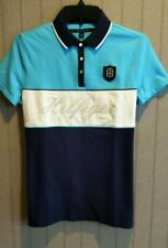 New Tommy Hifiger Women Short  Sleeves Polo Tee T-shirt Turquoise White Size M