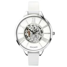 BRAND NEW LADIES SEKONDA  SKELETON  DESIGN WATCH WHITE DIAL WHITE LEATHER STRAP