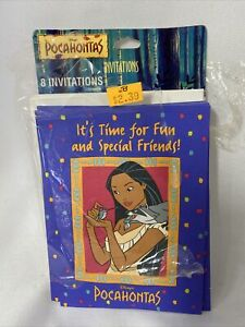 Vintage Disney Pocahontas Party Invitations Opened Pack of 8