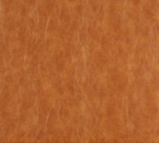 Saddle Brown and Beige Distressed Leather Hide Look Soft Vinyl Upholstery Fabric