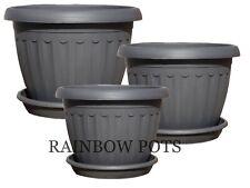 Coloured Plastic Plant Pots, Flower Pots, Planters + Saucer, Tray φ 17,20,25,30