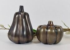 Pumpkin Salt & Pepper Shaker Set/Antique Brass Finish Metal/Fall Decor/Godi