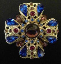 VINTAGE GOLD TONE RED PURPLE BLUE RHINESTONE CABOCHON MALTESE CROSS PIN BROOCH