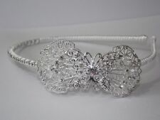 New White Bridal Prom Crystal Butterfly Alice Band Headband