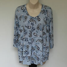 'BLUE ILLUSION' BNWT SIZE 'S' BLUE, TAUPE & BLACK PAISLEY PRINT 3/4 SLEEVE TOP