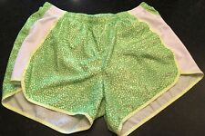 Women's Champion Shorts Running Athletic Shorts Green & White With Liner Size S