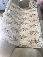 Vintage 1940's Floral Fabric 4 Pieces Linen / Cotton Pretty