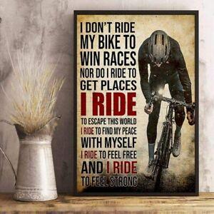 Cycling Bicycle Driving Bike Biker Poster, Wall Art Prints, No Frame