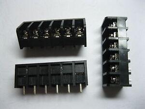 60 pcs Screw Terminal Block Connector 6 pin 8.25mm Barrier Type Black DC39B New