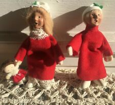 2 Vtg 1992 Byers Choice Carolers Miniature Toddler Girl Boy Red Nightgown Dolls
