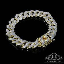 "Men Cuban Miami Link Bracelet 14k Gold Over Solid 925 Sterling Silver 8.4"" Long"