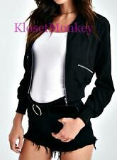 SEXY BLACK CROPPED CROP ZIPPER BOMBER LINED JACKET COAT TOP BIKER MEDIUM M