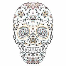 Sugar Skull Rhinestone Diamante Crystal Iron On T Shirt Design Transfer