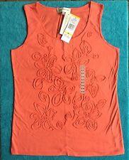 NEW JONES NEW YORK Ladies Cotton Sleeveless Tank Top Tee Coral Orange Size Med