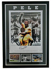 PELE GENUINE HAND SIGNED & FRAMED AUTOGRAPH HUGE PHOTO DISPLAY & COA BRAZIL