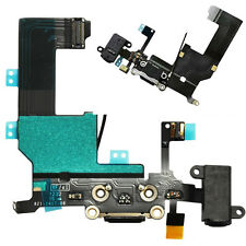Genuine iPhone 5 Black Dock Connector Port Headphone Jack & Mic Flex ORIGINAL