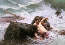 Oil painting J. W. Waterhouse - adieu Farewell Lovers in ocean shipwreck & waves