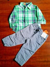Gymboree Baby Boy's 12-18m Long sleeve Plaid Button up Thick 2x layer Pants NEW