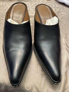 Women's Donald J Pliner Black Leather Western Made Italy Heeled Mule Sz. 8M EUC