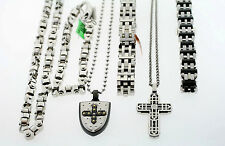WHOLESALELOT OF 6 Black & Blue Mixed Stainless Steel Necklaces and Bracelets