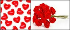 Bright Red Hearts and Roses Combo (36 Piece Set)