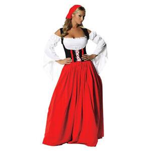Red Long Skirt Oktoberfest Beer Wench Costume