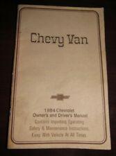 1984 Chevy Van Owners Manual Book - Chevrolet