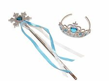 *NEW** GIRLS TURQUOISE SNOWFLAKE WAND AND TIARA SET - FANCY DRESS PARTY PRINCESS