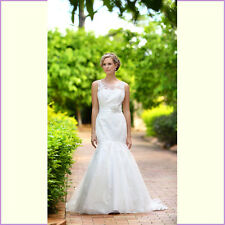 BNWT Wendy Makin Designer Ivory Wedding Dress Montana Size 12 Illusion Neckline