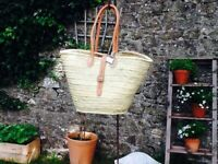 GORGEOUS LARGE FRENCH MARKET SHOPPER WITH LEATHER BUCKLE FASTENING.  A MUST !