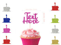 Personalised Glitter Happy Birthday Cupcake Any Name Any Age Cupcake Toppers  UK
