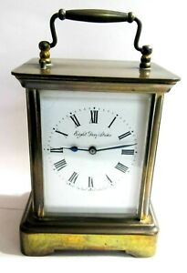 SCARCE - REPEATER - NEW HAVEN 8 DAY STRIKE - KWKS VINTAGE BRASS CARRAIGE CLOCK