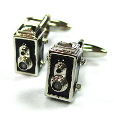 Black and Silver Tone Old Fashioned Photography Film Camera D3314 3D Cuff LInks