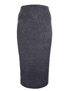 Ladies Long Dark Grey Skirt plus size 18-32 charcoal pull on jersey marl 434