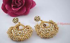 Indian Bollywood Costume Jewellery Earrings Kundan Stone Polki Gold Designer