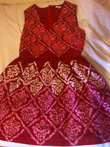 Manoush Dress 42 Embroidered Beading Red And Pink