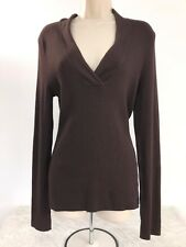 NWT Inc Womens Size XL Brown Ribbed Sweater Top Long Sleeve V-Neck