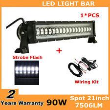 "21""inch 90W Flashing LED Light Bar Strobe Fog ATV SUV Vehicle 25/28 + Wiring Kit"