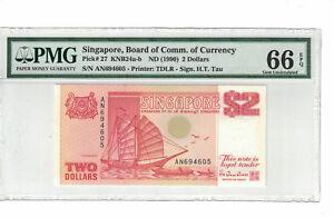 SINGAPORE $2 Dollars 1990 Pick# 27 PMG: 66 EPQ GEM UNC.(#PL893)