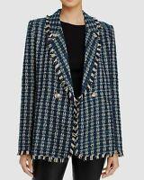 Aqua Women's Sz S Double-Breasted Tweed Plaid Blazer Jacket Frayed Trim
