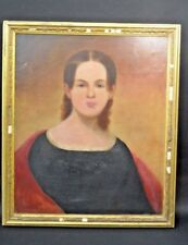 Early portrait of a woman on canvas in old  Jesso frame 1830 -1840