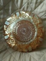"""Vintage Glass Marigold 6 3/4"""" Bowl Starburst  Design"""