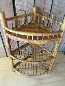 VTG Wicker wood Hanging  corner Wall  table Shelf bamboo boho natural